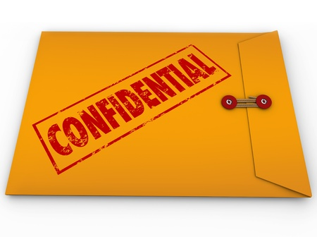 private information: A yellow envelope with a red stamp with the word Confidential containing information that is a secret, private, classified, restricted message Stock Photo
