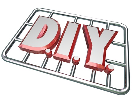 The letters D I Y in a model kit to symbolize a do it yourself attitude in taking on a project and learning to complete a job on your own photo