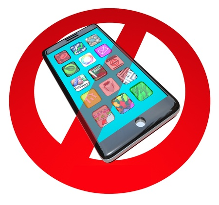 mobile app: A red No or Stop sign over a smart phone showing apps to warn you not to use your telephone in a certain spot or during a special event