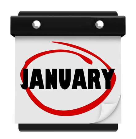 The word January on a wall calendar to remind you of important events during the winter month Stock Photo - 16885462