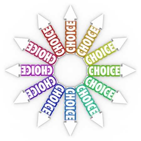 The word Choice on many arrows pointing in different directions symbolizing different choices for your career, your business or life Stock Photo - 16885463