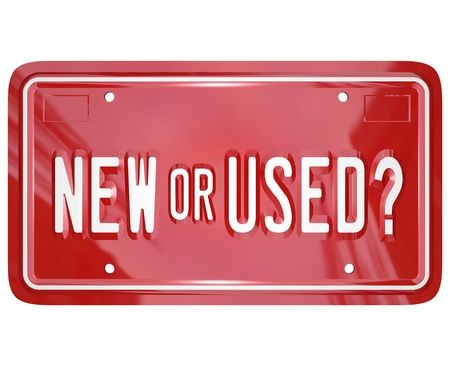 dealer: A red license plate with the words New or Used