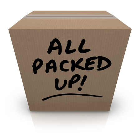 The words All Packed Up written on a cardboard box with black marker  Stock Photo - 16947056