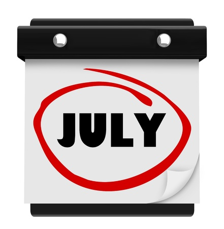 hotter: A wall calendar with the word July circled in red marker, reminding you of the change in months and remember fun things to do in summer like vacation and hot outdoor activities Stock Photo