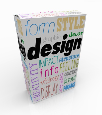 The word Design and associated terms and phrases on a product box or package, such as creativity, form, display, layout, inspiration, style, impact, content, information, decor and structure Stock Photo - 16980236