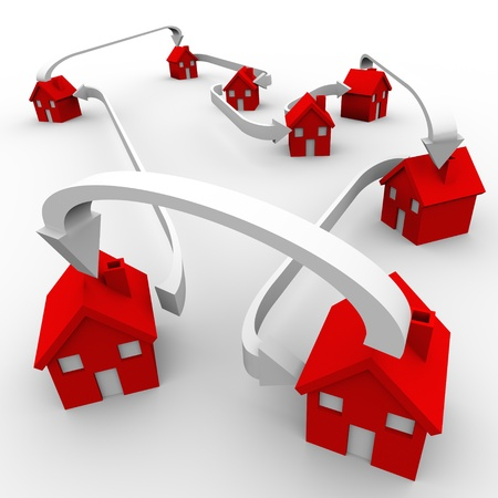 Verschillende rode huizen zijn verbonden door middel van pijlen de gemeenschap, de buurt, de maatschappij, het verspreiden, verplaatsen, verplaatsing en het delen symboliseren Stockfoto
