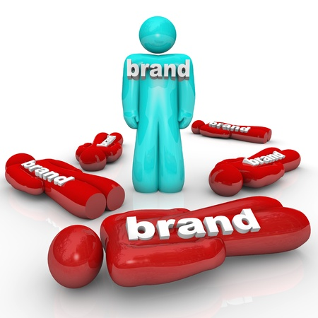 One brand is the market leader and beats the competition as symbolized by one person standing out from a crowd of fallen companies or brands Stock Photo - 17024257