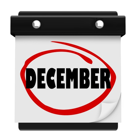 A wall calendar with the word December circled in red marker Stock Photo - 17038334