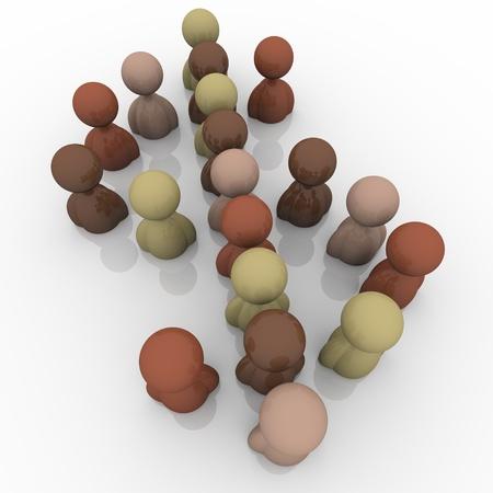 다문화 경제와 노동력을 대표하는 달러 기호 또는 상징의 형성에 서있는 다른 종족의 다양한 사람들의 집단