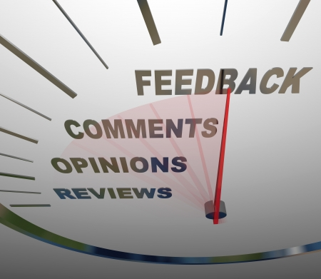 replying: A speedometer tracking and measuring the level of customer satisfaction through comments, reviews, opinions and other forms of feedback Stock Photo