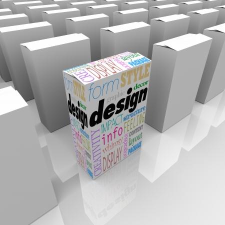 product box: Una scatola di prodotto ha una grande grafica con parole come forma, stile, arredamento, grafica, la creativit�, la struttura, di ispirazione e di pi�
