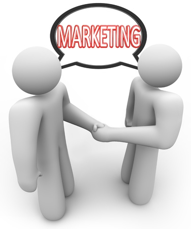 persuasive: Two people networking and shaking hands with the word Marketing in a speech bubble above their heads