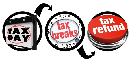 A diagram of three circles showing you the steps needed to find tax breaks and save money when figuring what you owe or will receive in a taxation refund Stock Photo