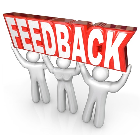 good attitude: The word Feedback lifted by a customer support team to encourage comments, reviews, questions or other communcication among people Stock Photo