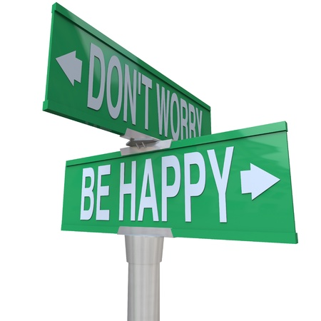 cons: Two-way street or road signs pointing in different directions with the words Dont Worry and Be Happy