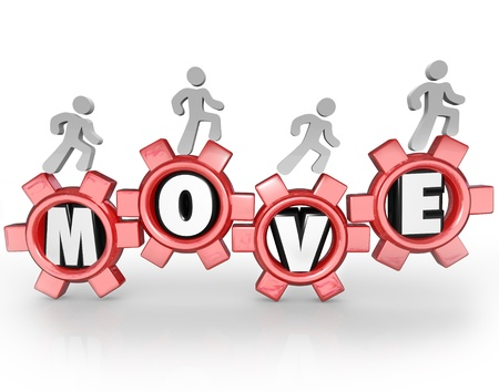 The word Move in gears with a workforce or team of people walking forward to symbolize progress, action, goal, mission and success Stock Photo - 17251917