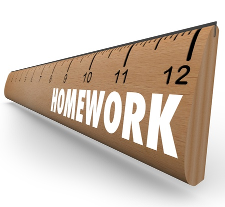rehearse: The word Homework on a wooden ruler symbolizing a lesson or assignment for school or educational training