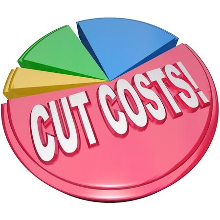 De woorden kosten te besparen op een cirkeldiagram op de noodzaak om overhead en schuldenlast te verminderen symboliseren om de winstgevendheid en de gezondheid van een bedrijf of familie financiën te verhogen Stockfoto
