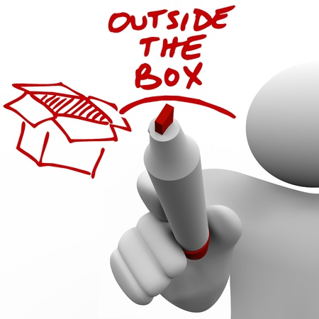 A man, person or guy writes the words Outside the Box with a red pen or marker next to an illustration of a box illustration