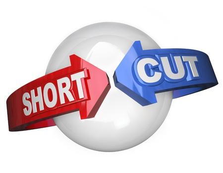 shorten: The Cut Short palabras en las flechas va alrededor de una esfera que simboliza una ruta f�cil y camino m�s corto para tener �xito en un objetivo o misi�n Foto de archivo