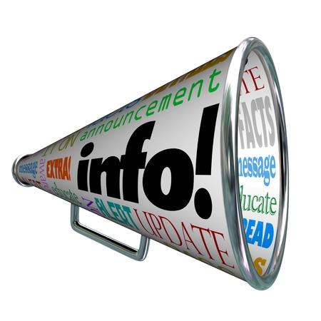 Een megafoon of megafoon met het woord Info en vele andere woorden met betrekking tot communicatie, zoals update, alert, bericht, nieuws, feiten en meer
