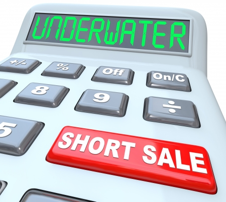 short sale: The word Underwater on a calculator digital display, symbolizing a home value being less than what is owed, and the words Short Sale on a red button symbolizing a solution to the problem
