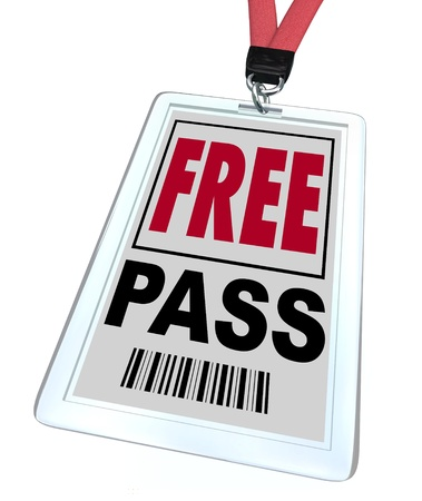 access restricted: A badge and lanyard reading Free Pass