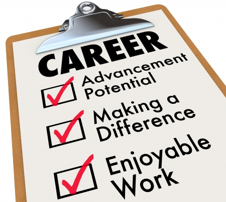 advancement: A checklist on a wooden clipboard with the word Career and the top priorities for your to achieve in your profession: Advancement Potential, Making a Difference and Enjoyable Work Stock Photo