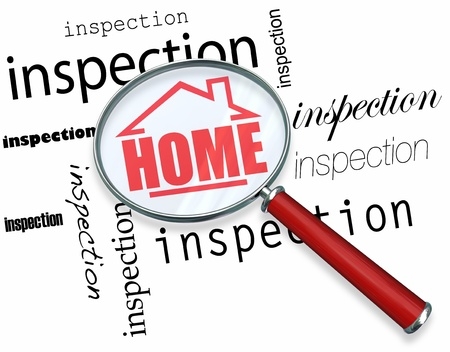 inspecting: A magnifying glass hovering over the words Inspection, centering on a house with the word Home inside it