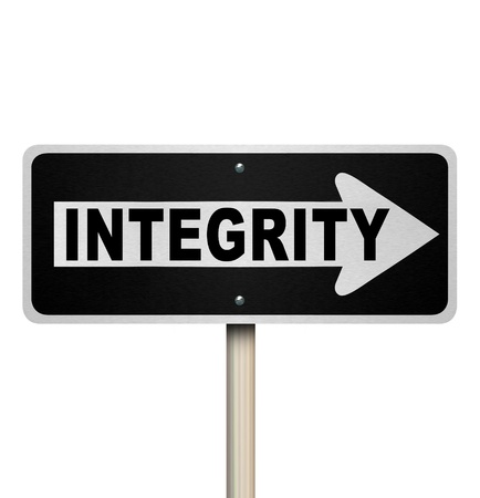 rectitude: A road or street sign with the word Integrity to illustrate sincereity, believability, reputation, truthfulness, honesty and credibility