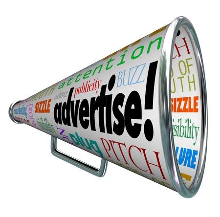 relations publiques: Un m�gaphone m�gaphone couverte de mots d�crivant la publicit� comme la publicit�, la promotion, les relations publiques, le marketing, l'attention, le public, la fiche buzz et beaucoup d'autres