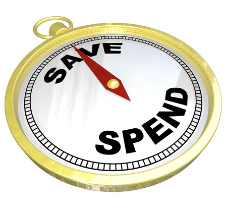 later: A compass with red needle pointing to the word Save and away from Spend, representing fiscal responsibility and the importance of saving and investing for building future wealth