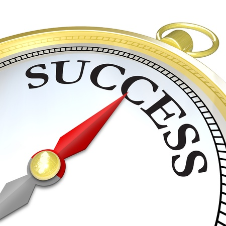 journeying: A compass with the word Success and a red arrow needle pointing to it, symbolizing that the search mission of finding your objective has reached a successful conclusion
