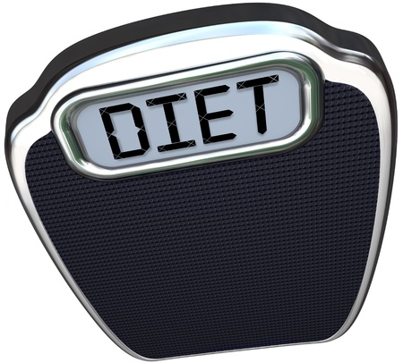 kilograms: The word Diet on a scale to illustrate the need to eat less and lose weight for better health Stock Photo