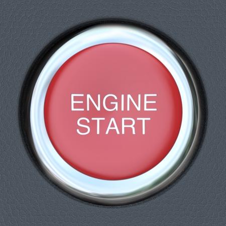 Een rode drukknop om een moderne sport auto te starten Stockfoto