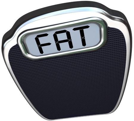 weight loss plan: La parola Grasso sul display digitale di una scala che illustra essere pesante, sovrappeso, obesi o insalubri che ti dice di perdere peso e di essere pi? sani