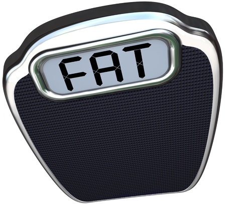 overeat: The word Fat on the digital display of a scale illustrating being heavy, overweight, obese or unhealthy telling you to lose weight and be healthier