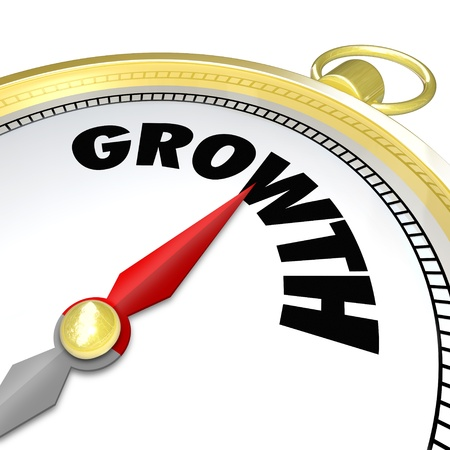 The word Growth on a gold compass symbolizing advancement, increasing, new opportunities in business and life Stock Photo - 17674281
