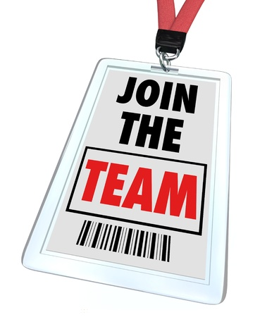 teaming: A badge and lanyard with printed pass reading Join the Team, symbolizing getting hired at a job and working toward teamwork Stock Photo