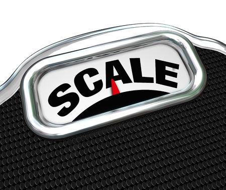 overeat: The word Scale on a measurement device or tool used for measuring weight to determine mass and if you need to go on a diet and lose weight