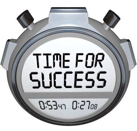 A stopwatch timer shows the words Time for Success indicating it is now the moment to give your all in an effort to achieve your goal and win the competition in a sporting event or other contest Stock Photo - 17674260