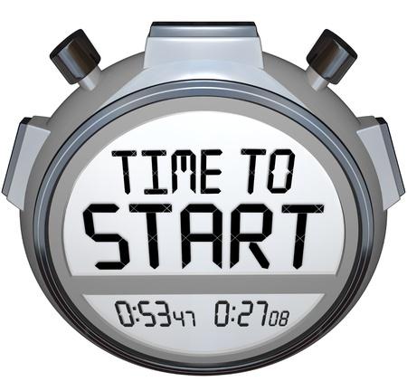 empezar: Las palabras Tiempo de Inicio en un cronómetro o un temporizador para ilustrar el punto de partida o el comienzo de una carrera, competición, juego o evento de negocios, tales como la apertura de una empresa o especial