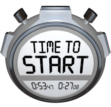 originate: The words Time to Start on a stopwatch or timer to illustrate the starting or beginning point of a race, competition, game, or business event such as opening of a company or special