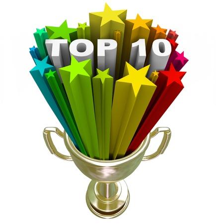 pin�culo: Un dorado con el Top 10 palabras en un estallido de estrellas de colores, ilustrando las diez opciones que han alcanzado la m�s alta cima del �xito se�alado como finalistas o mejores destinos
