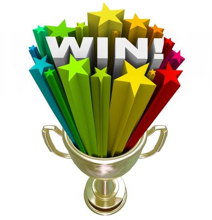 award winning: A golden first place trophy with the word Win and colored star fireworks blasting out of it, illustrating the excitement and drama of winning a contest or competition