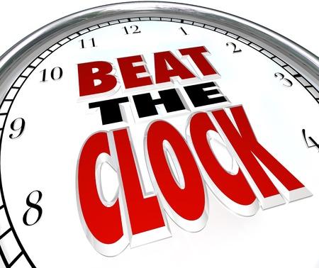 ritme: De woorden Beat the Clock op een klok op de noodzaak om een taak te voltooien voordat een deadline te illustreren of de eerste is voltooid voordat het aftellen en win een wedstrijd