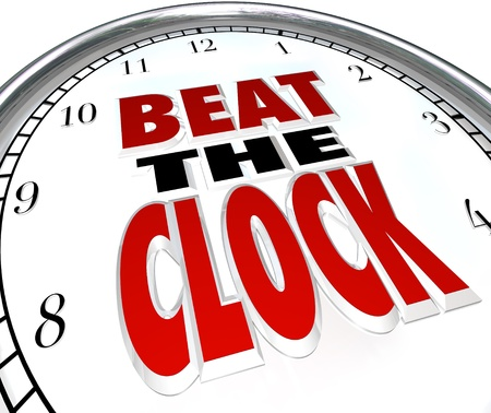against the clock: The words Beat the Clock on a clock face to illustrate the need to complete a task before a deadline or be the first to finish before the countdown and win a competition Stock Photo