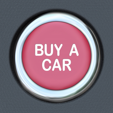 A red ignition button with the words Buy a Car representing the need to browse and shop for a new vehicle Stock Photo - 17674305