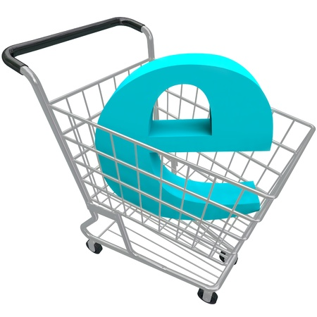 The letter e in a shiny metal shopping cart Stock Photo - 17674242