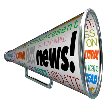 breaking news: The word News on a megaphone or bullhorn and many associated words such as extra, message, update, alert, awareness, buzz and more
